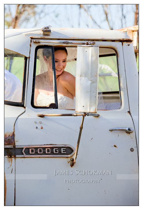 trucks in the country with the beautiful bride