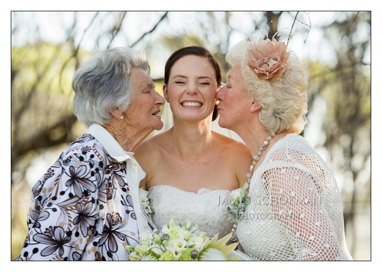 grandmothers kissing the bride in perth at a country wedding