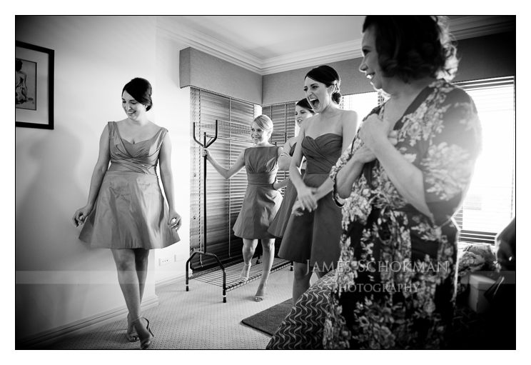lovely natural black and white of bridesmaids and bride