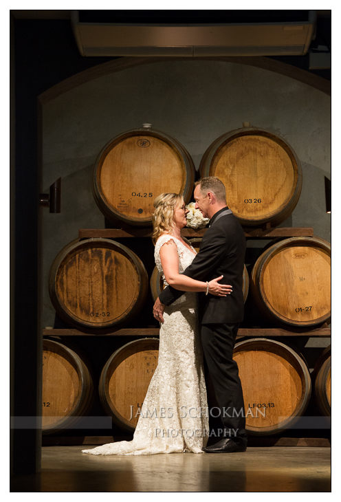 down in the cellar at millbrook winery for a wedding