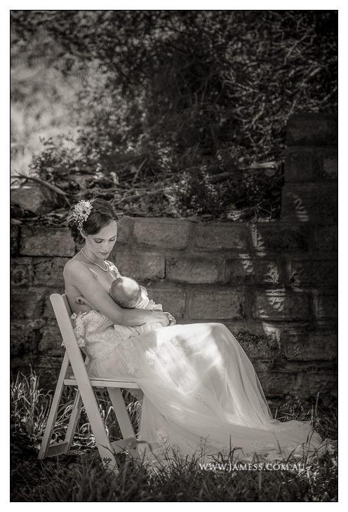 Nursing bride at Perth wedding